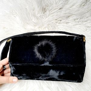 KATE SPADE BLACK ALEX VELVET EVENING BAG